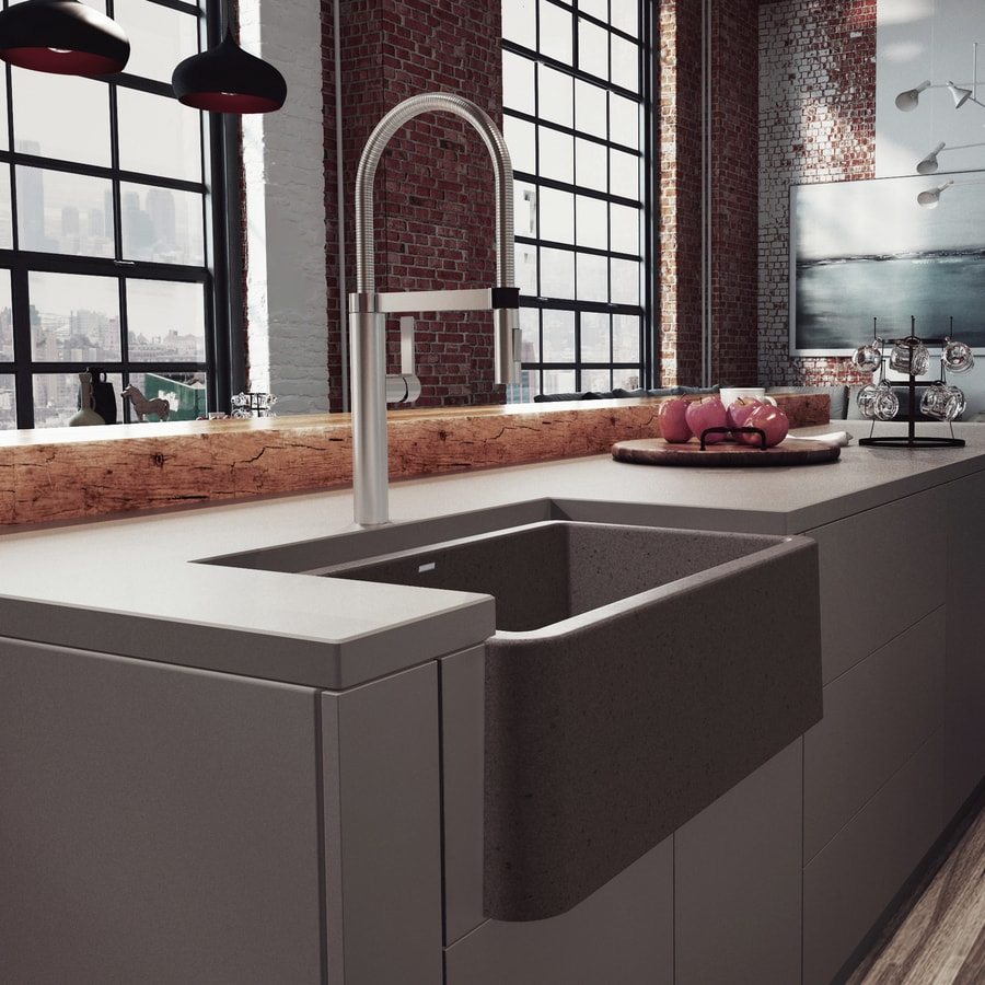 BLANCO Ikon 30-in x 19-in Cafe Brown Single-Basin-Basin Granite Apron Front/Farmhouse (Customizable)-Hole Residential Kitchen Sink