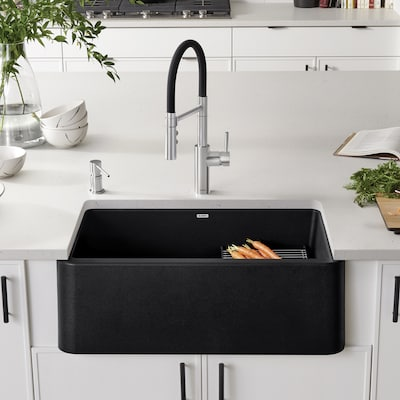 Ikon 30-in x 19-in Anthracite (Black) Single Bowl Tall (8-in or Larger)  Undermount Apron Front/Farmhouse Residential Kitchen Sink