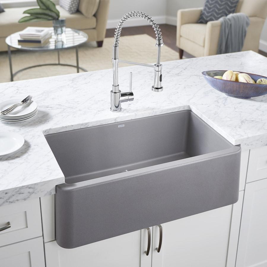 Kitchen Sink 19 X 33: BLANCO Ikon 33-in X 19-in Metallic Gray Single-Basin