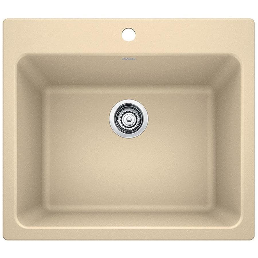 Blanco 22 In X 25 In 1 Basin Biscotti Off White Undermount Composite Laundry Sink In The Utility Sinks Department At Lowes Com