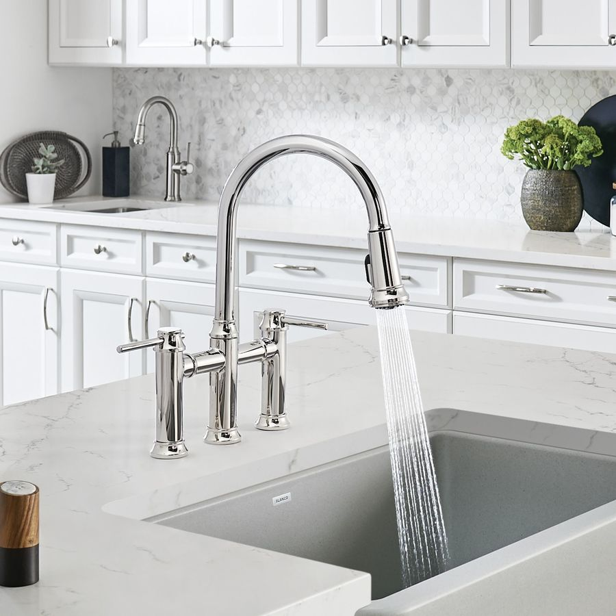 Bridge Kitchen Faucet: BLANCO Empressa Polished Chrome 2-Handle Bridge Kitchen