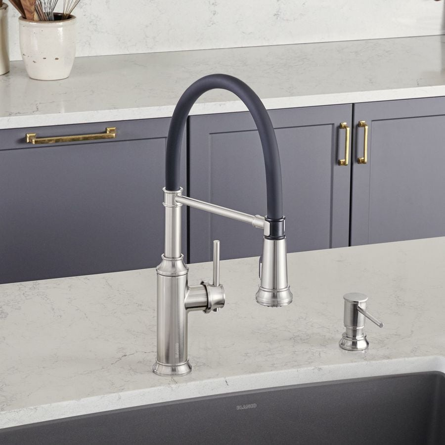 BLANCO Empressa Stainless Steel 1 Handle Pull Down Kitchen Faucet