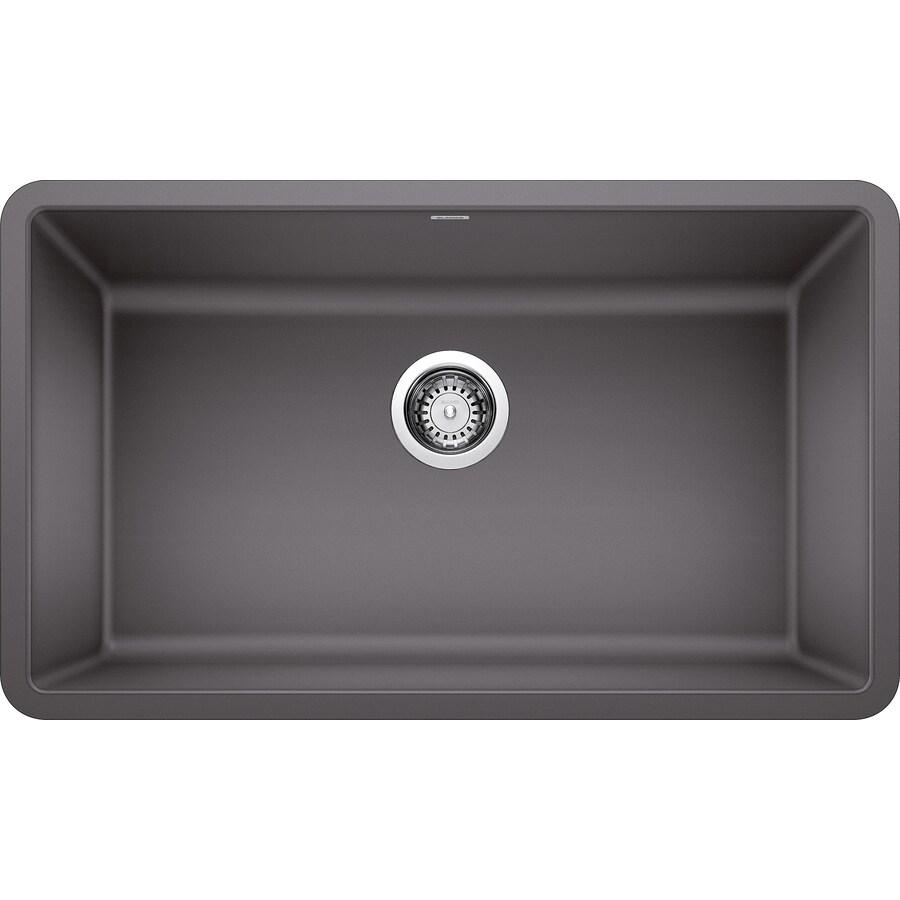 BLANCO Precis 30in X 18in Cinder Gray SingleBasin Blanco Cinder Sink E65