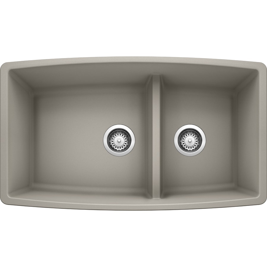Kitchen Sink 19 X 33: BLANCO Performa 33-in X 19-in Concrete Gray Double-Basin