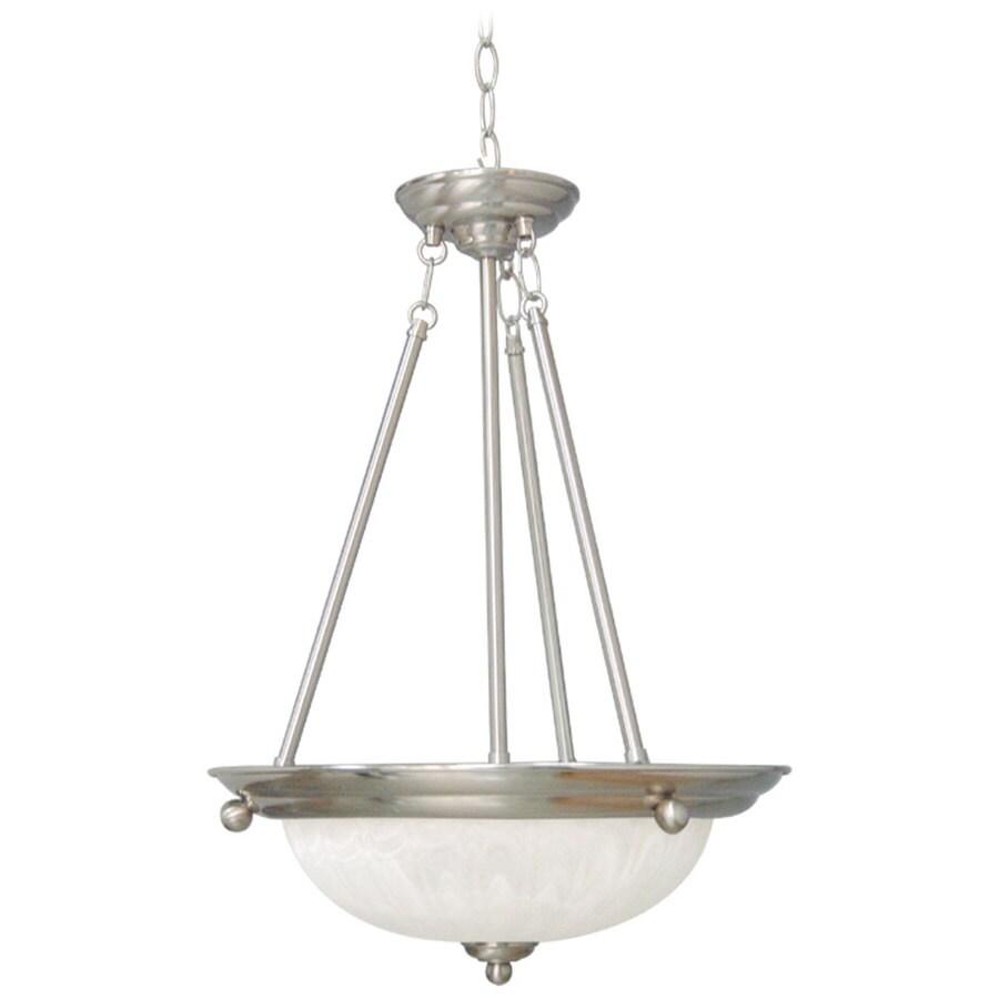 Ventola 15.5-in Brushed Nickel Single Alabaster Glass Pendant