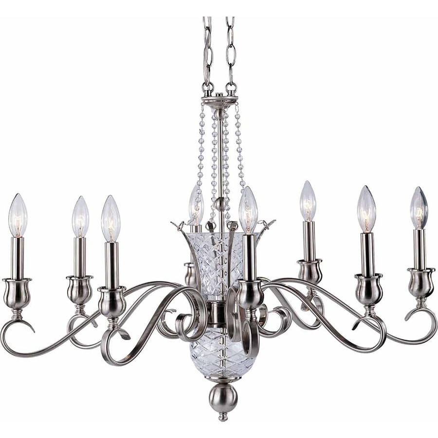 Pixley 30.25-in 8-Light Brushed Nickel Candle Chandelier