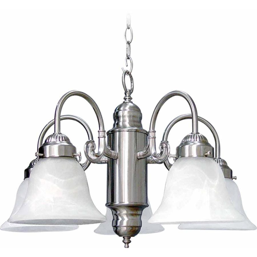 Nelse 23-in 5-Light Brushed Nickel Alabaster Glass Candle Chandelier
