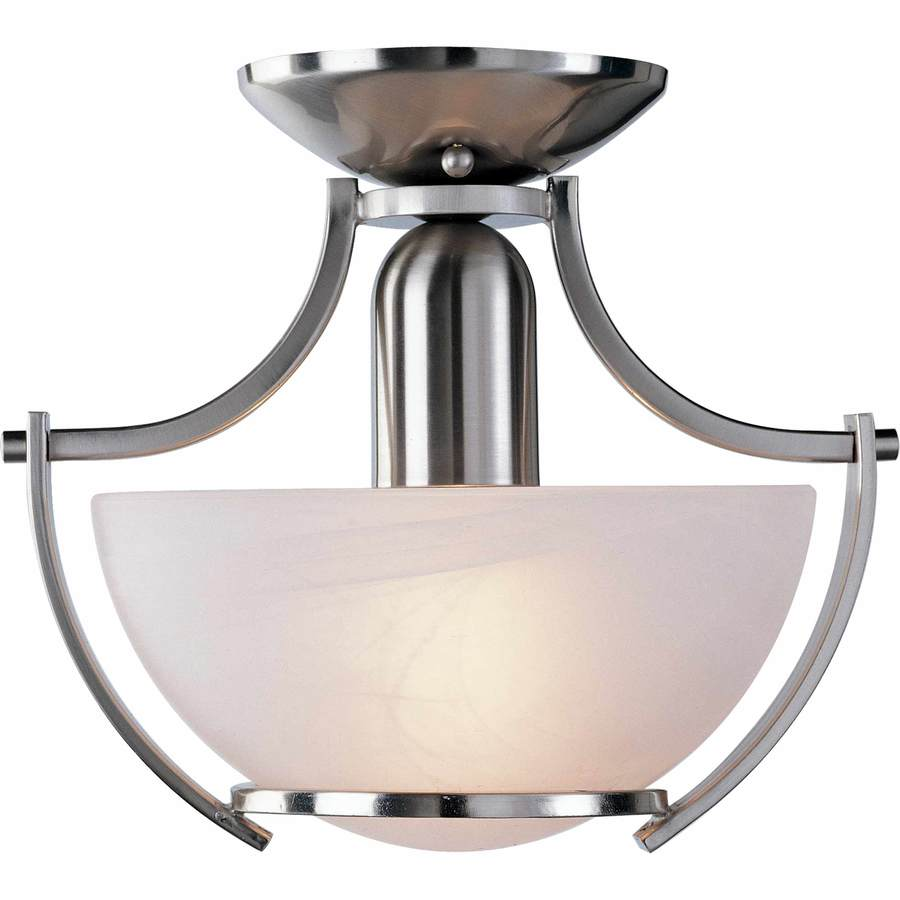 Fragale 10.75-in W Brushed Nickel Alabaster Glass Semi-Flush Mount Light