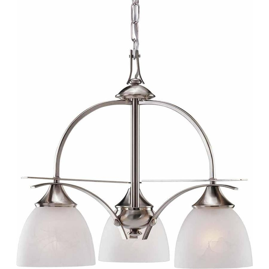 Inavale 21.75-in 3-Light Brushed Nickel Alabaster Glass Candle Chandelier