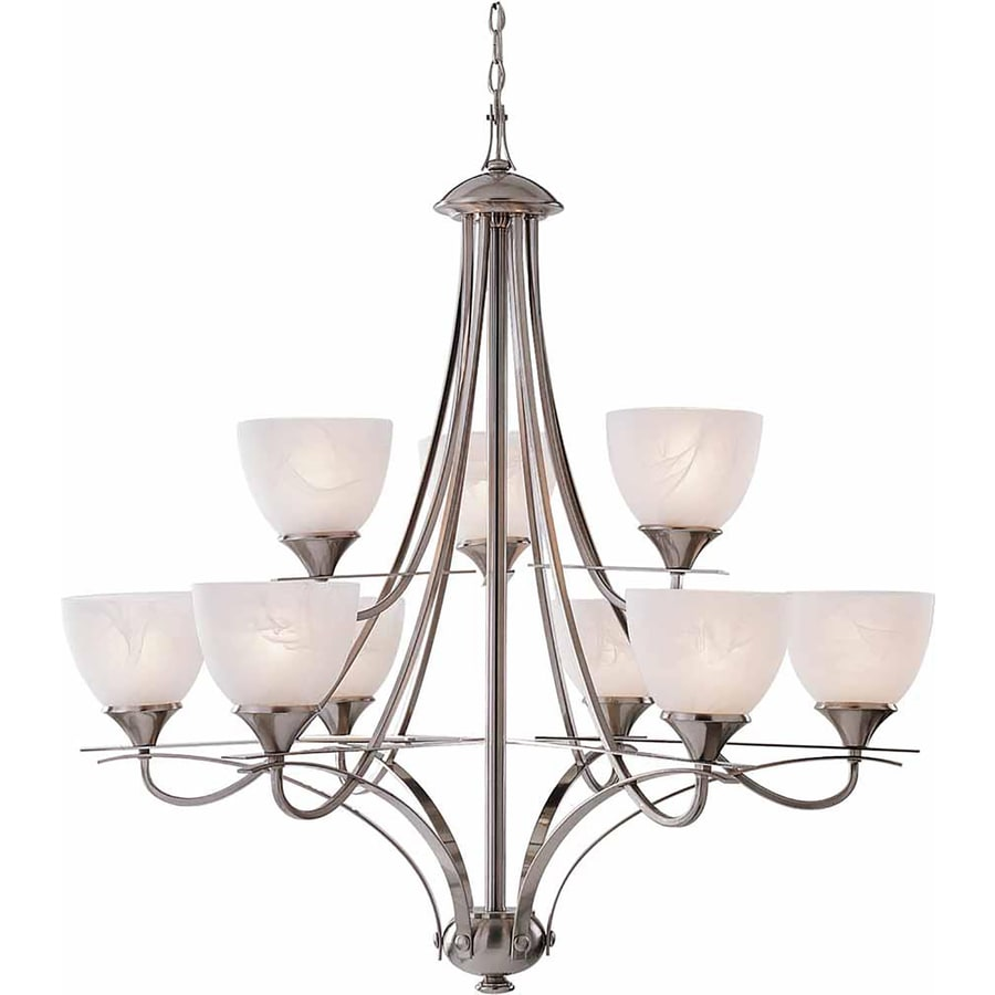Sagle 37.5-in 9-Light Brushed Nickel Alabaster Glass Tiered Chandelier