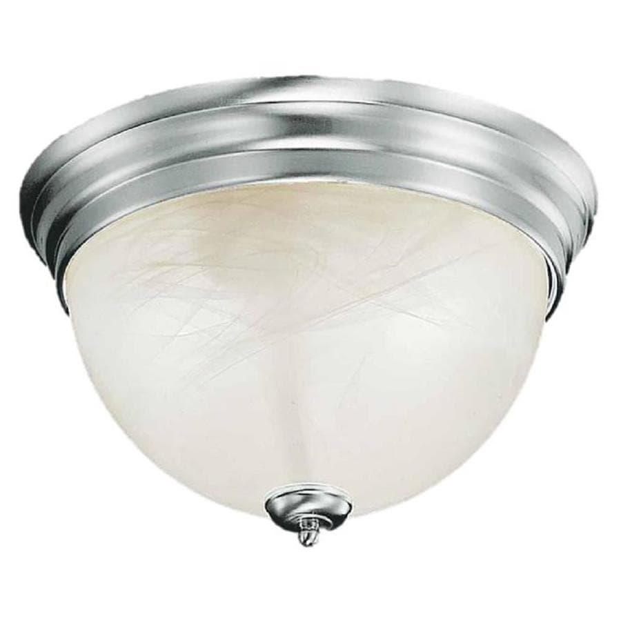Hurlock 15-in W Brushed Nickel Standard Flush Mount Light
