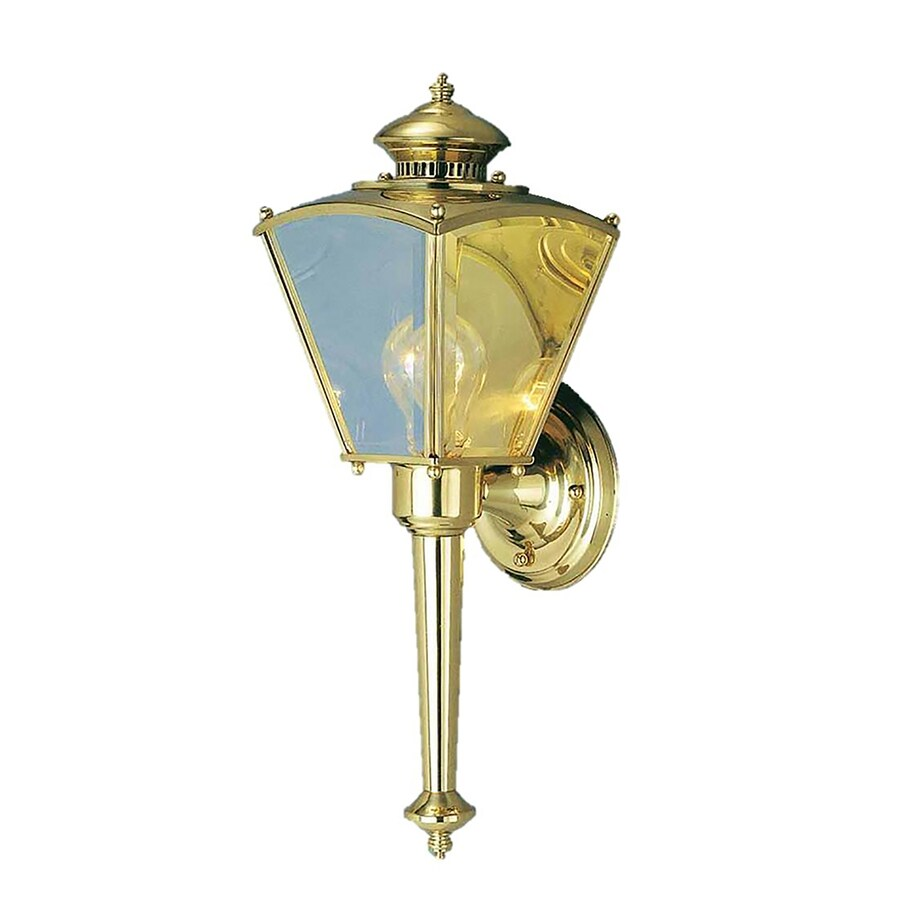 Desmet 18.75-in H Polished Solid Brass Outdoor Wall Light
