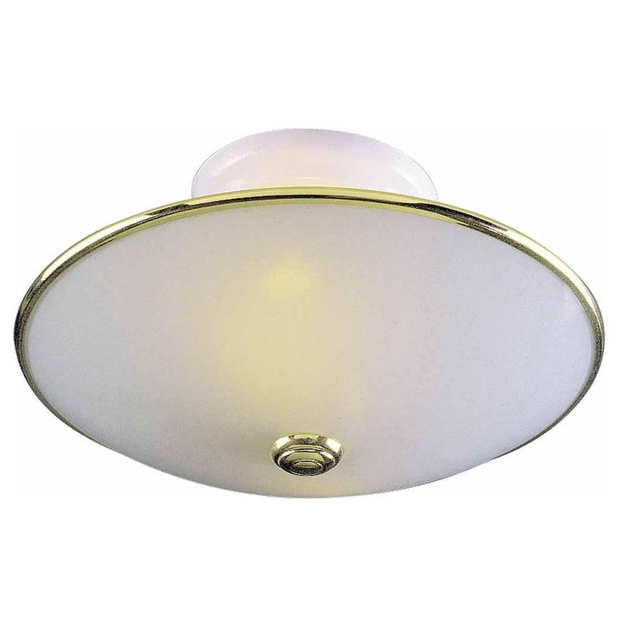 Wanette 12-in W Polished Brass and White Ceiling Flush Mount Light
