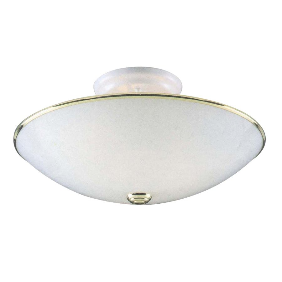 Wanette 14.5-in W Polished Brass and White Standard Flush Mount Light