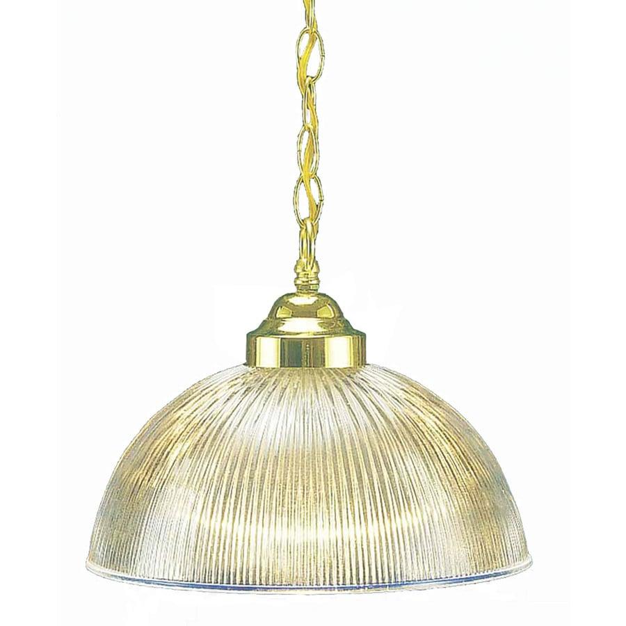 Brogan 12-in Polished Brass Mini Ribbed Glass Pendant