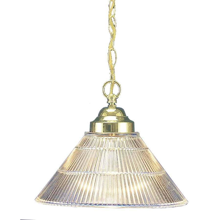 Tahoka 12-in Polished Brass Mini Ribbed Glass Pendant