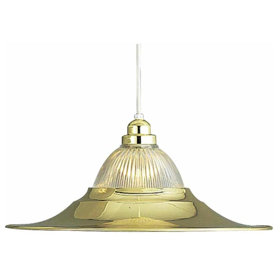 Gemmill 18-in Polished Brass Mini Ribbed Glass Pendant