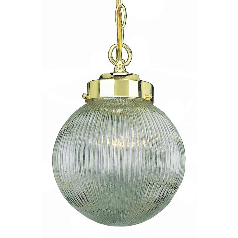 Sipho 8-in Polished Brass Single Ribbed Glass Pendant