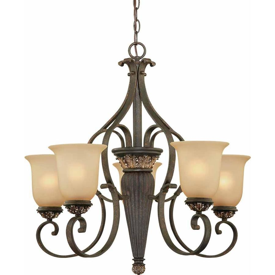 Geissler 26.5-in 5-Light Vintage Bronze and Antique Gold Tinted Glass Candle Chandelier