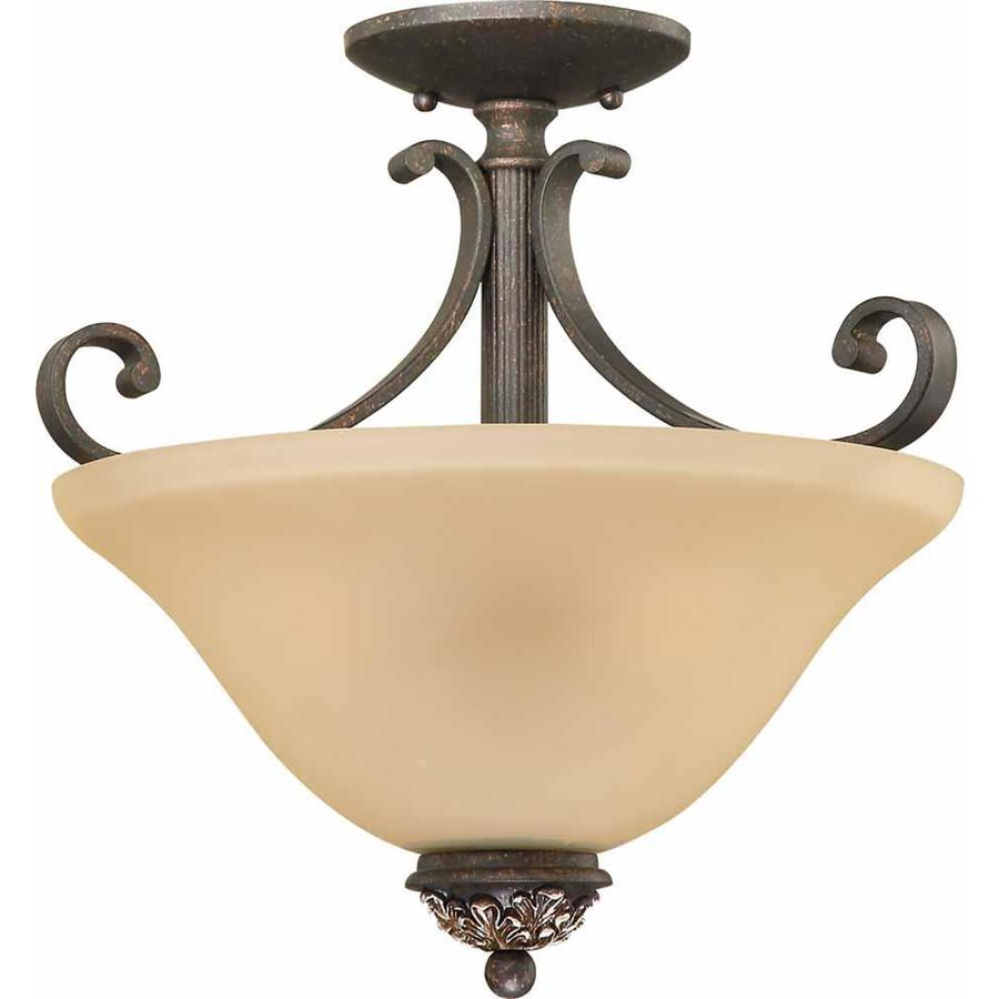 Geissler 14.5-in W Vintage Bronze and Antique Gold Tea-Stained Glass Semi-Flush Mount Light