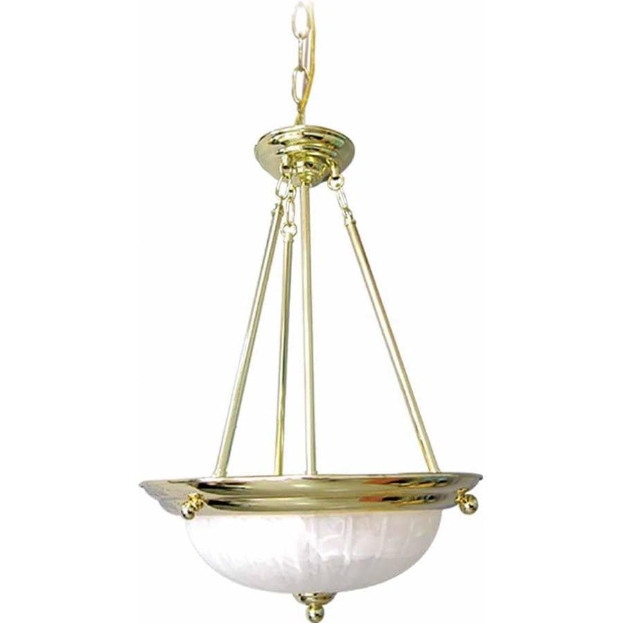 Mastel 15.5-in Polished Brass Single Alabaster Glass Pendant