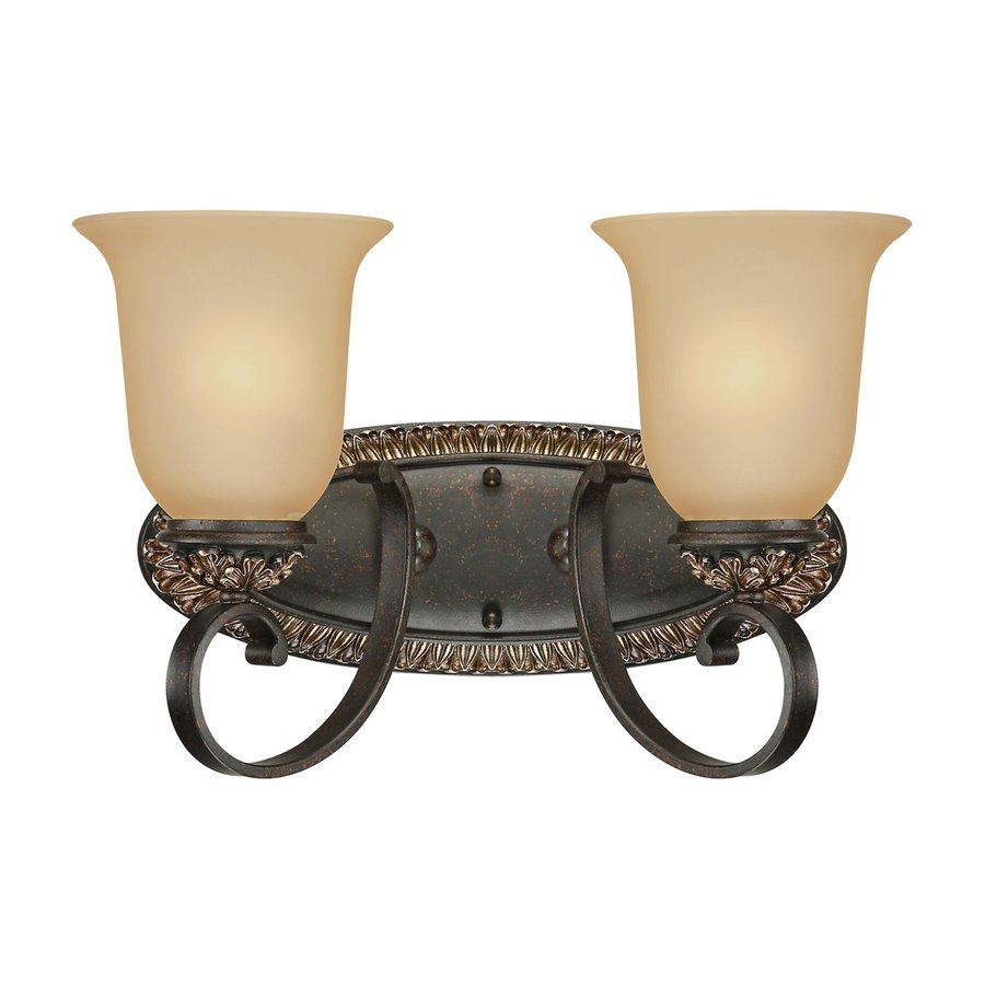 Geissler 2-Light 9.5-in Vintage Bronze and Antique Gold Vanity Light