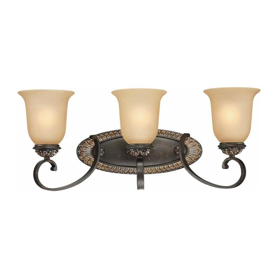 Geissler 3-Light 10-in Vintage Bronze and Antique Gold Vanity Light