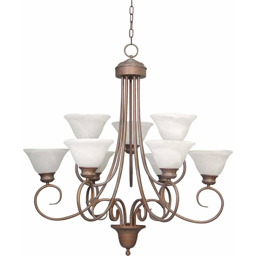 Lanett 36-in 9-Light Prairie Rock Alabaster Glass Tiered Chandelier