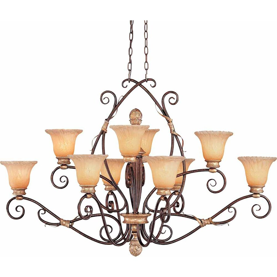 Rienzi 25-in 10-Light Vintage Bronze and Antique Gold Tinted Glass Tiered Chandelier