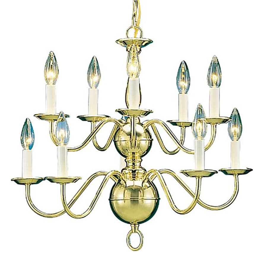 Marissa 23-in 10-Light Polished Brass Candle Chandelier