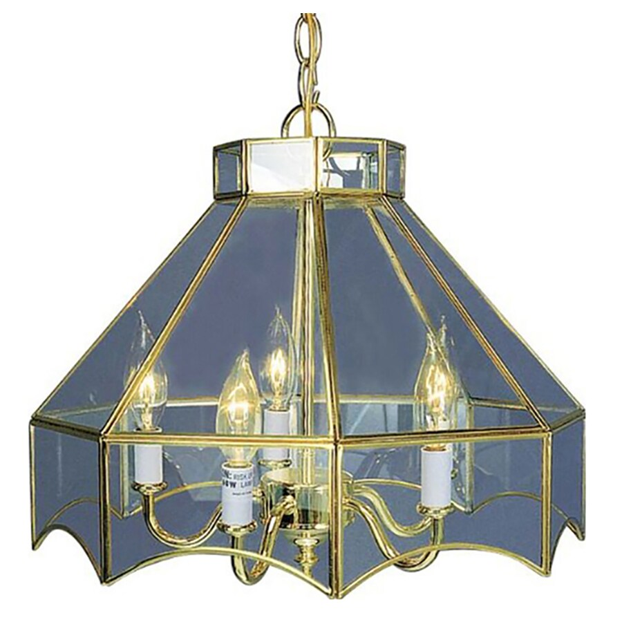 Kadoka 16-in 5-Light Polished Brass Clear Glass Candle Chandelier