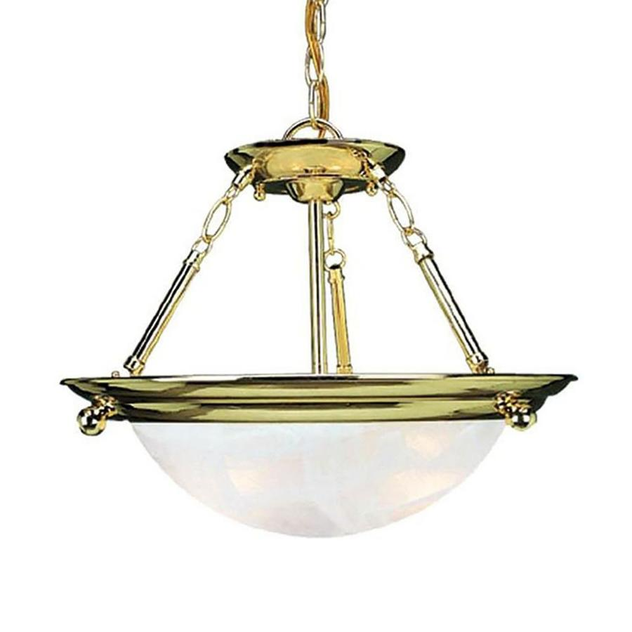Karcich 21.5-in W Polished Brass Alabaster Glass Semi-Flush Mount Light