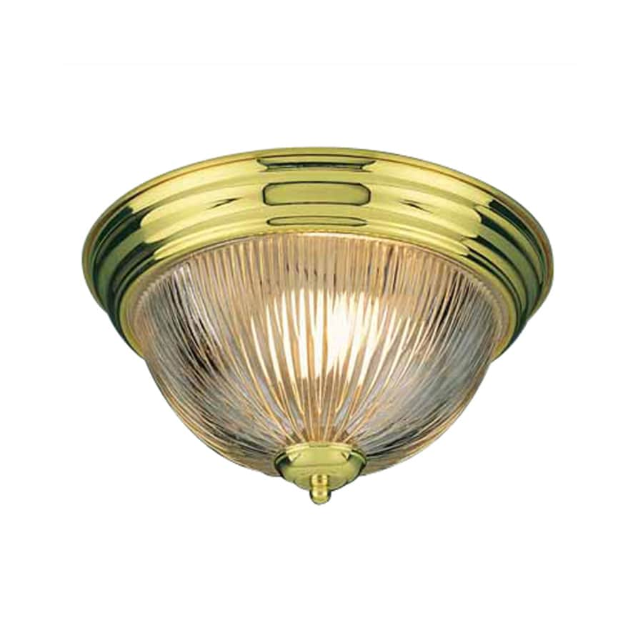 Amsden 13-in W Polished Brass Flush Mount Light