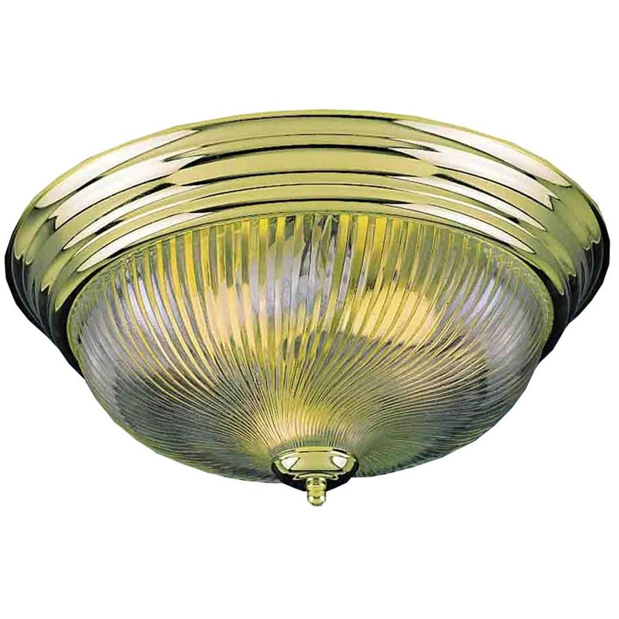 Amsden 13-in W Polished Brass Standard Flush Mount Light