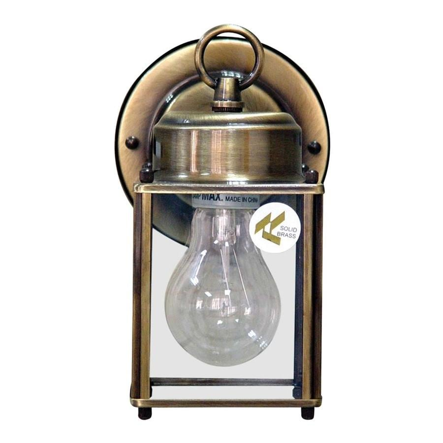 Shop mokbel 8 in h antique brass outdoor wall light at for Brass outdoor lighting