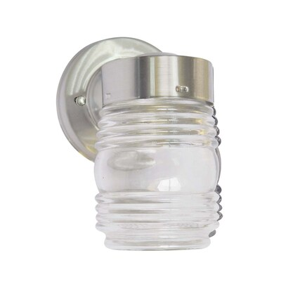 Jelly Jar 7 In H Brushed Nickel Medium Base E 26 Outdoor Wall Light