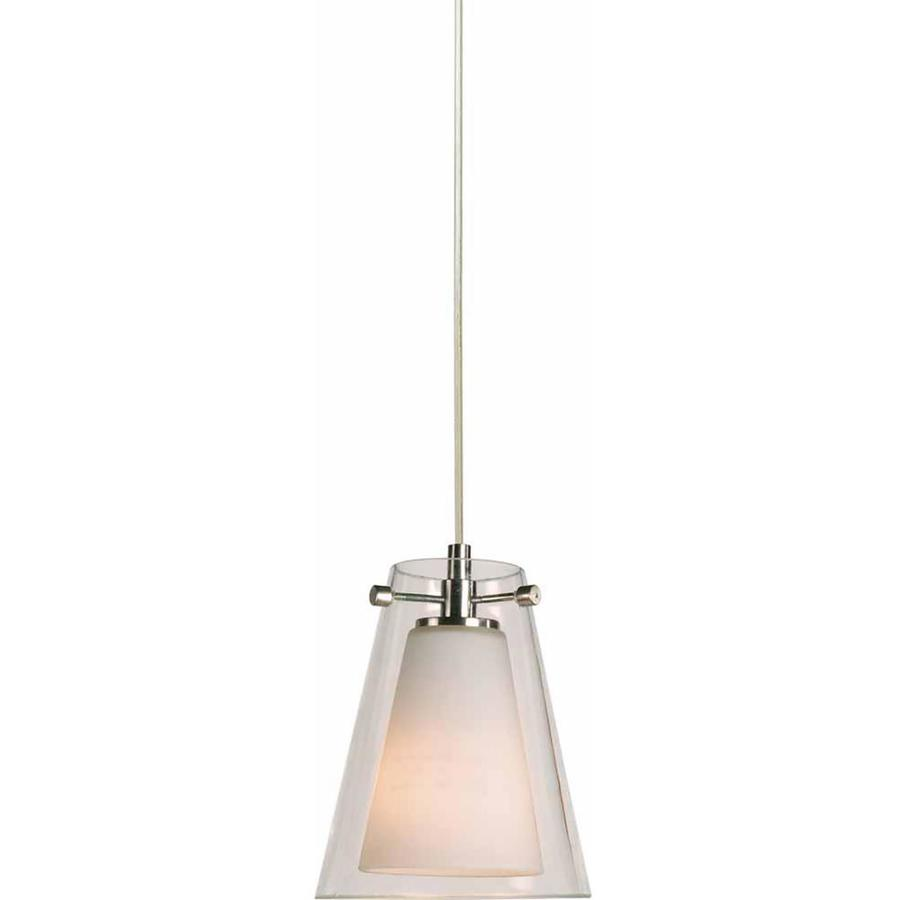 Maida 5-in Brushed Nickel Mini Etched Glass Pendant