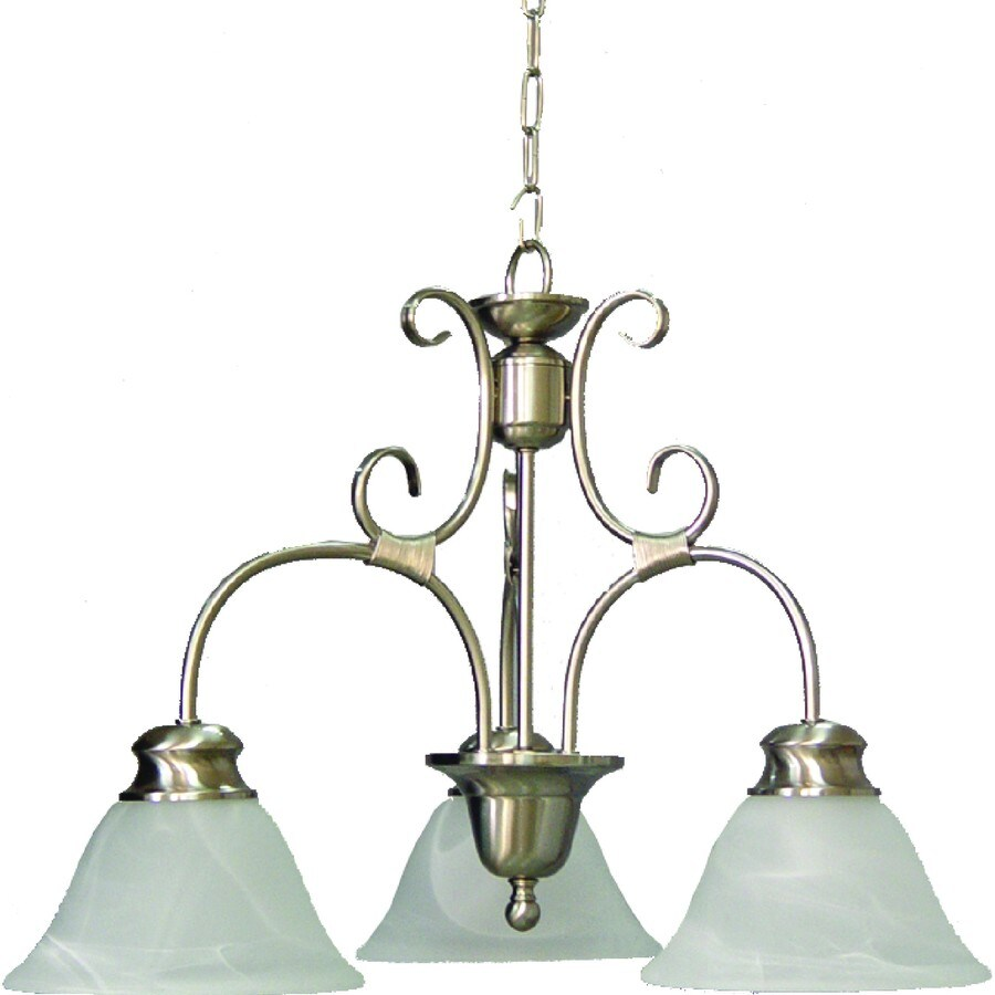 Wyanet 22.75-in 3-Light Brushed Nickel Alabaster Glass Candle Chandelier