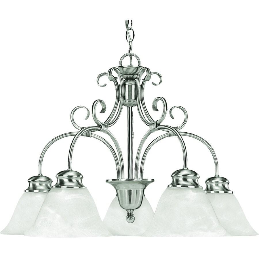 Wyanet 26-in 5-Light Brushed Nickel Alabaster Glass Candle Chandelier