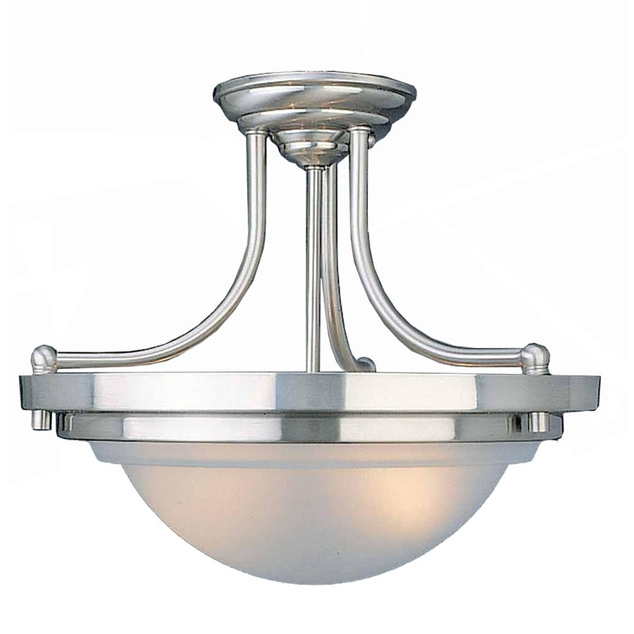 Tryner 14.75-in W Brushed Nickel Frosted Glass Semi-Flush Mount Light