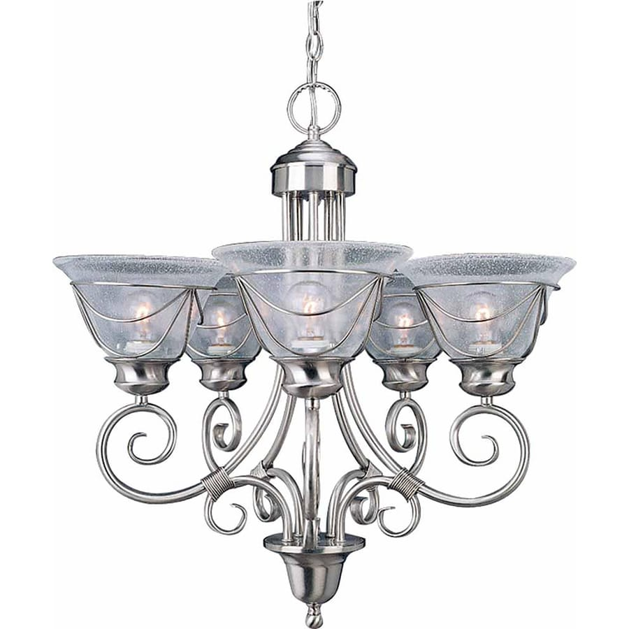 Turton 24-in 5-Light Brushed Nickel Clear Glass Candle Chandelier