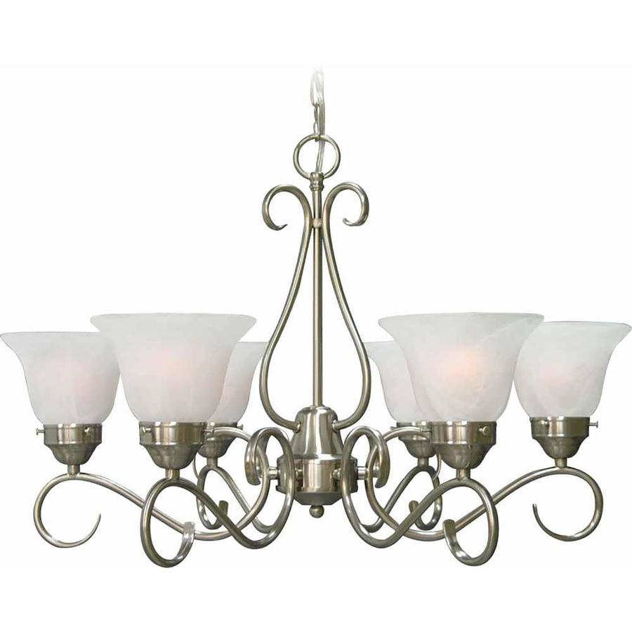Hosston 17.25-in 6-Light Brushed Nickel Alabaster Glass Candle Chandelier