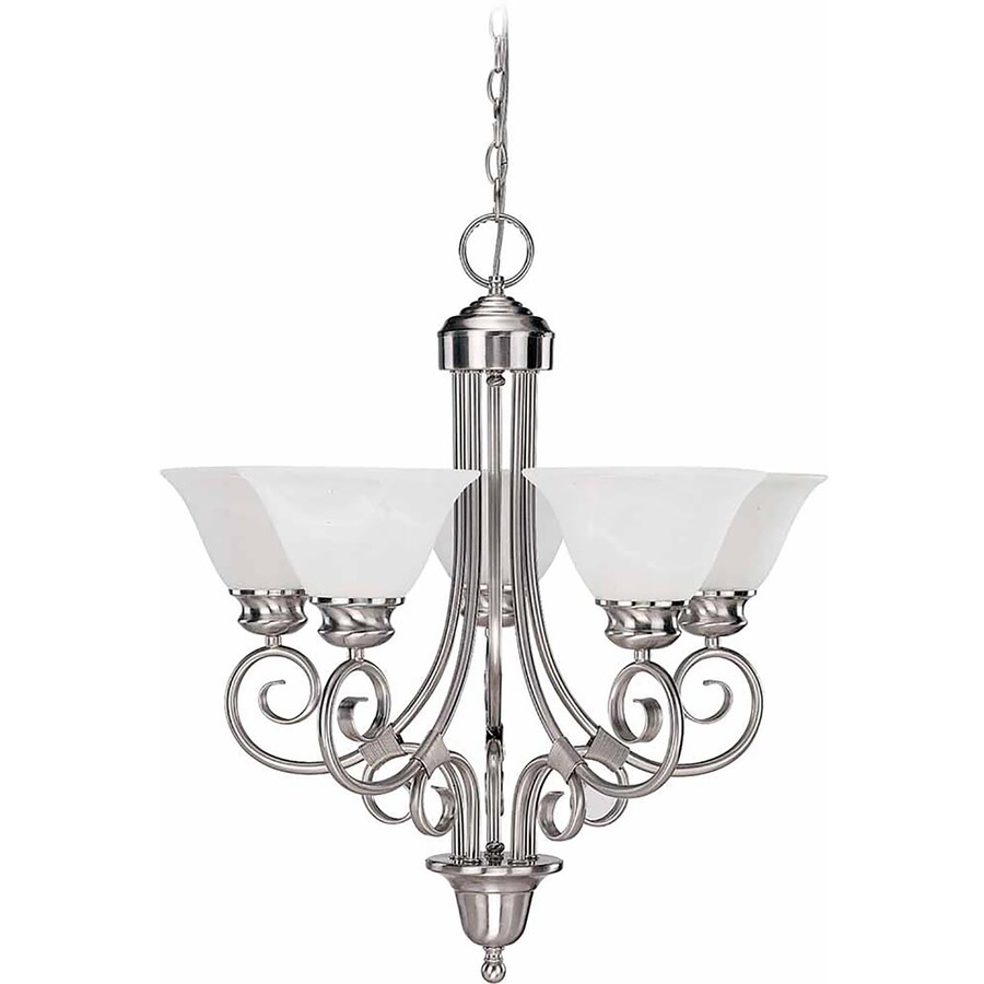Lanett 24-in 5-Light Brushed Nickel Alabaster Glass Candle Chandelier