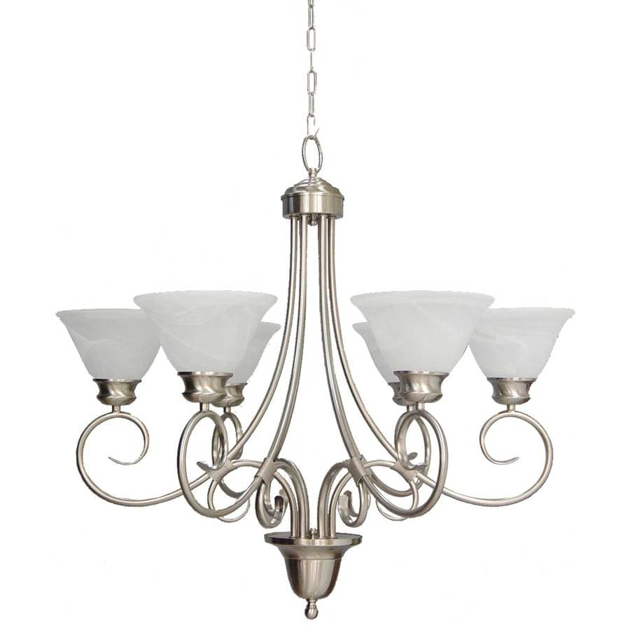 Lanett 32.25-in 6-Light Brushed Nickel Alabaster Glass Candle Chandelier