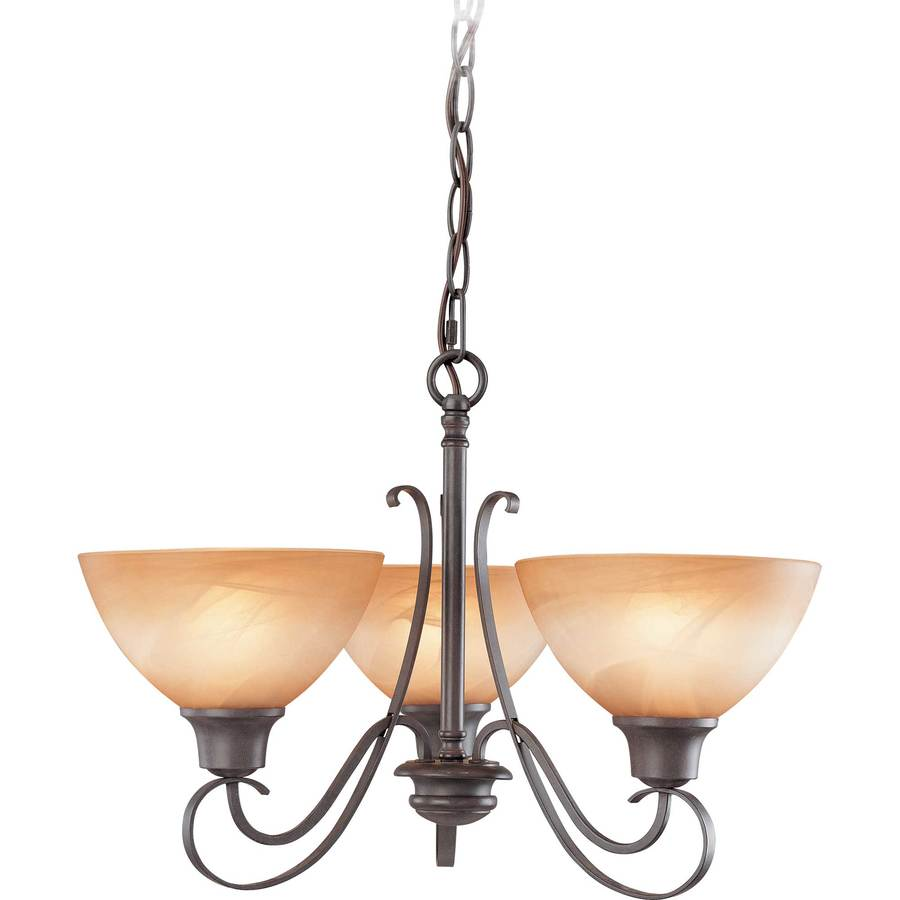 Dracut 20-in W Frontier Iron Alabaster Glass Semi-Flush Mount Light