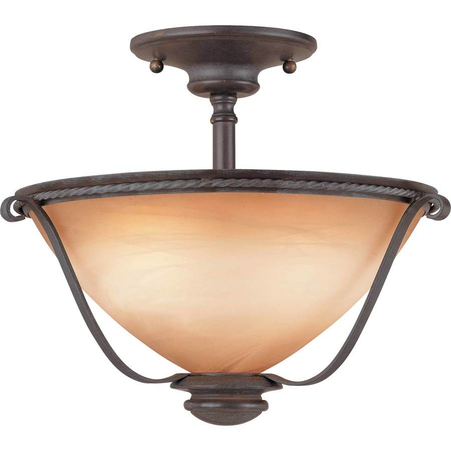 Dracut 12.75-in W Frontier Iron Alabaster Glass Semi-Flush Mount Light