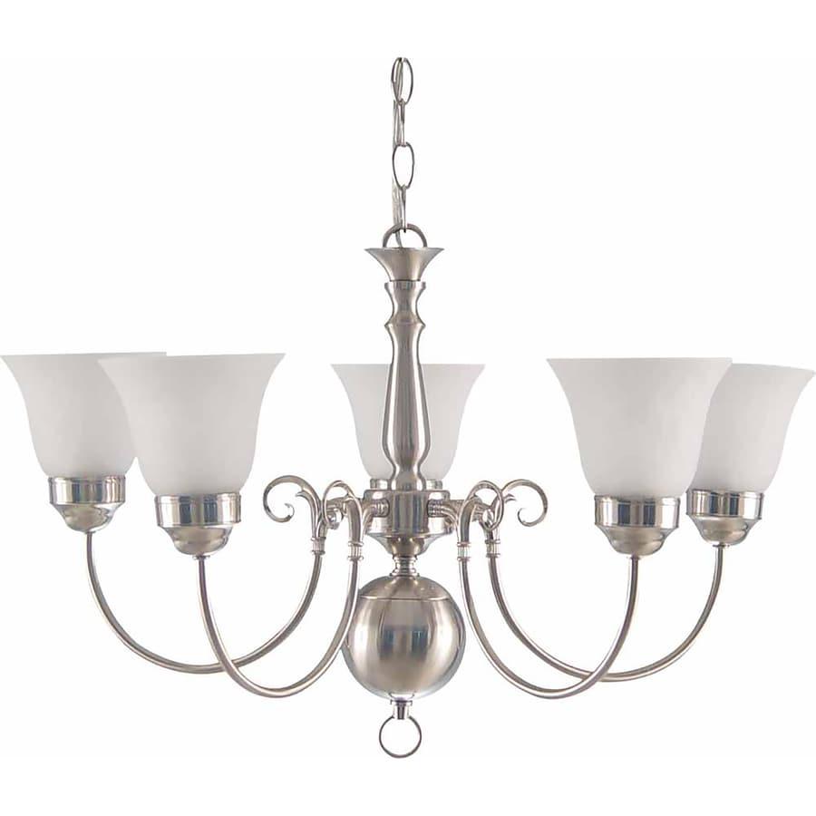 Vergas 25.75-in 5-Light Brushed Nickel Alabaster Glass Candle Chandelier