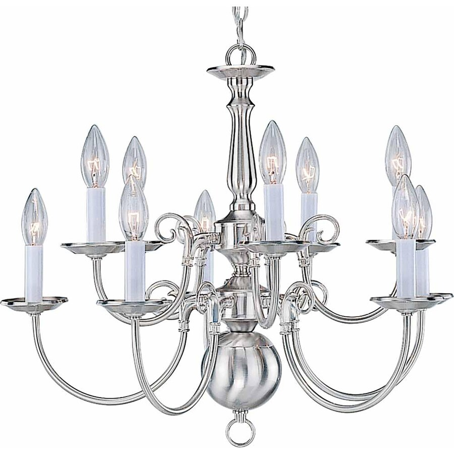 Raiford 23.5-in 10-Light Brushed Nickel Candle Chandelier