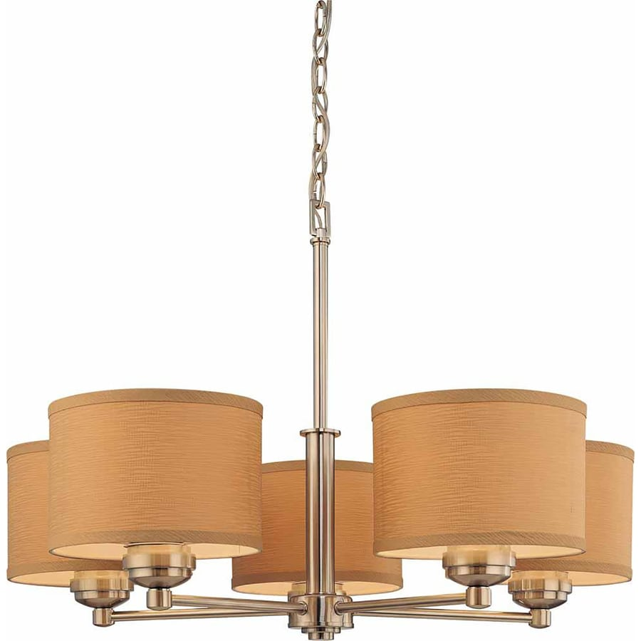 Ridott 28.75-in 5-Light Brushed Nickel Tinted Glass Drum Chandelier