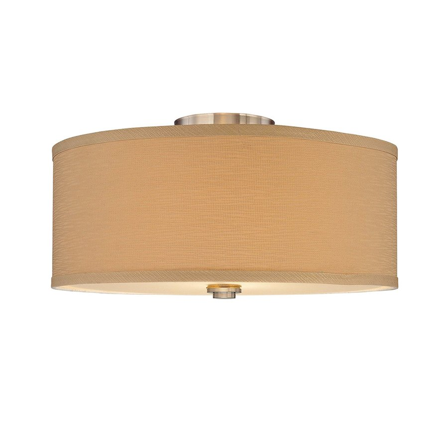 Gillham 16.25-in W Brushed Nickel Fabric Semi-Flush Mount Light